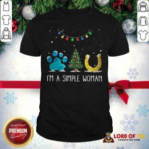 Nice I'm A Simple Woman Paw Dog Tree Christmas Horseshoe Shirt