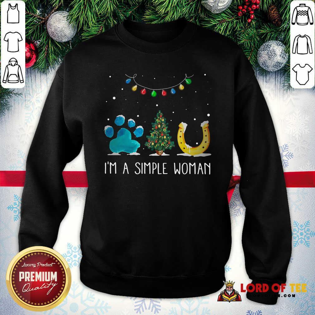 Nice I'm A Simple Woman Paw Dog Tree Christmas Horseshoe SweatShirt