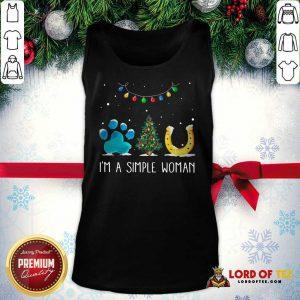 Nice I'm A Simple Woman Paw Dog Tree Christmas Horseshoe Tank Top