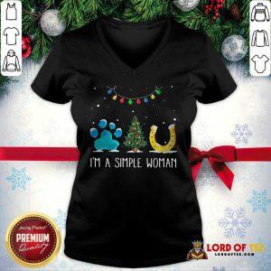 Nice I'm A Simple Woman Paw Dog Tree Christmas Horseshoe V-neck
