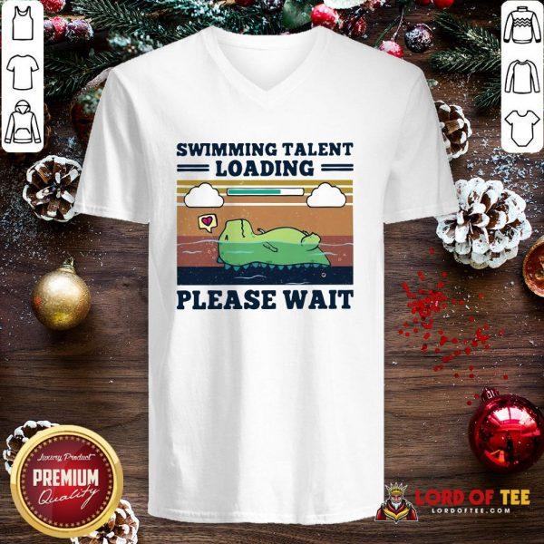 Nice Swimming Talent Loading Please Wait Vintage V-neck
