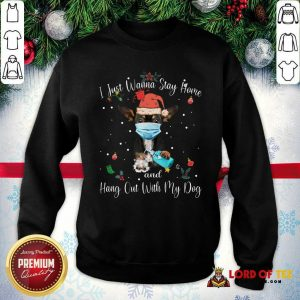 Official Chihuahua Face Mask I Just Wanna Stay Home And Hang Out With My Dog Merry Christmas SweatShirt
