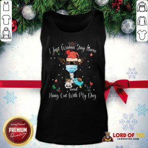 Official Chihuahua Face Mask I Just Wanna Stay Home And Hang Out With My Dog Merry Christmas Tank Top