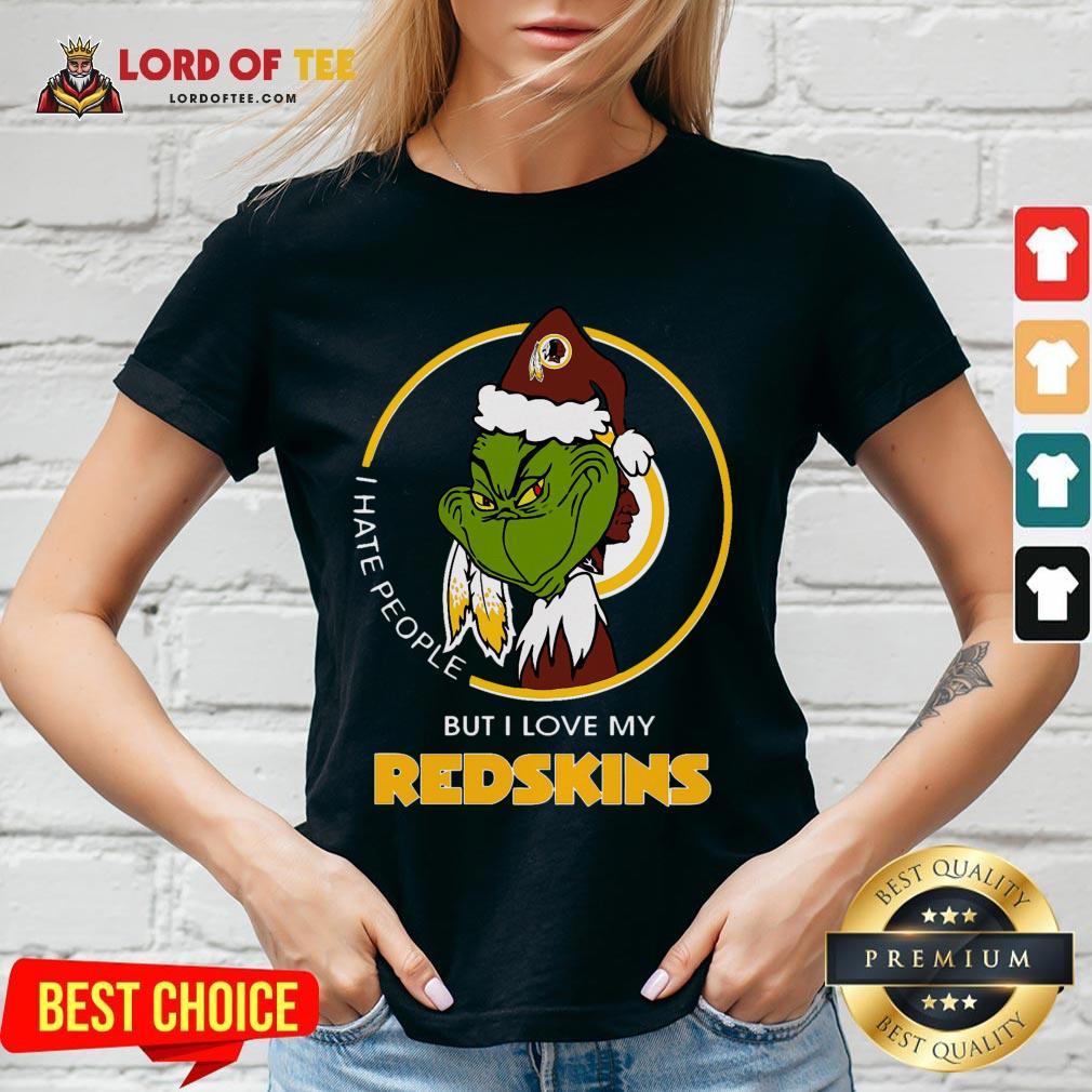 Official Grinch I Hate People But I Love My Washington Redskins V-neck