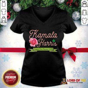 Official Kamala Harris Vice President 2020 AKA Ivy Tea Rose Flower V-neck