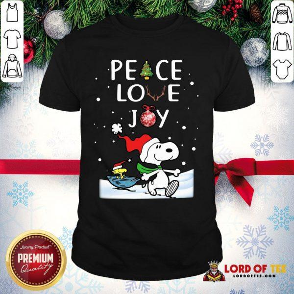 Official Merry Christmas Peanuts Snoopy Peace Love Joy Shirt