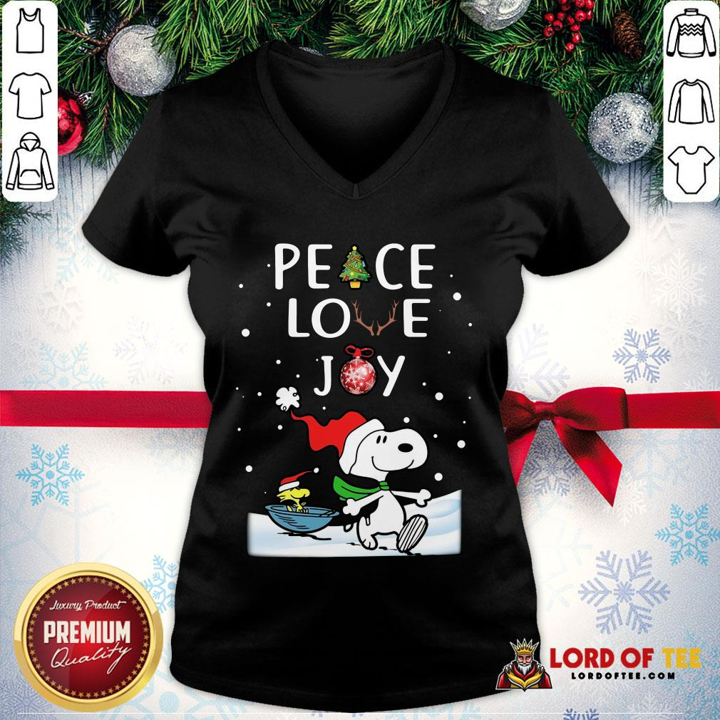 Official Merry Christmas Peanuts Snoopy Peace Love Joy V-neck