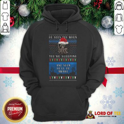 He Sees You When You're Sleeping And Soon He'll Be Awake Christmas Hoodie - Design By Lordoftee.com