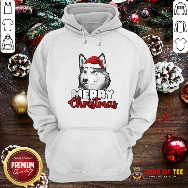 Merry Christmas Siberian Husky Dog Hoodie