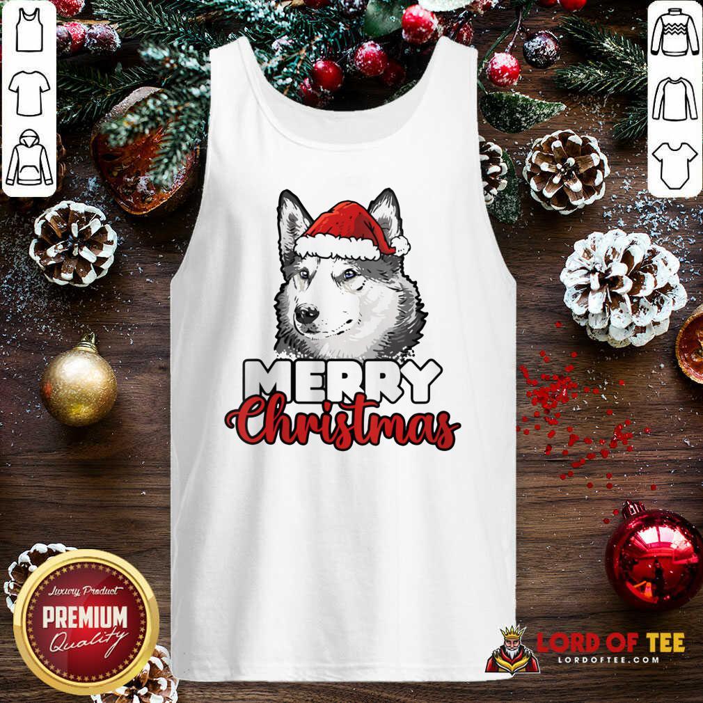 Merry Christmas Siberian Husky Dog Tank Top