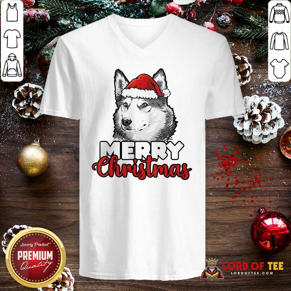 Merry Christmas Siberian Husky Dog V-neck