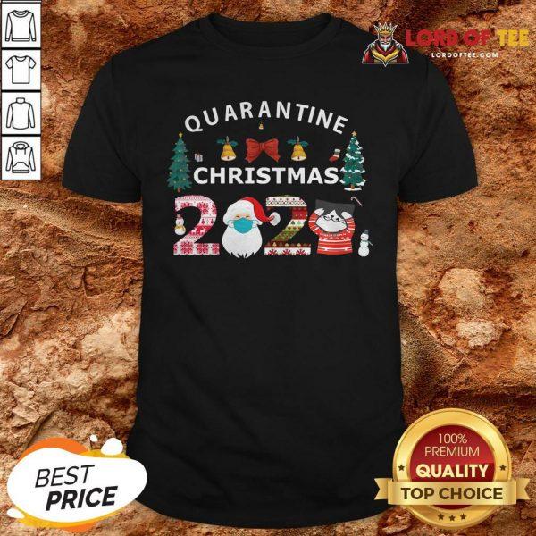 Perfect Quarantine Christmas Santa And Cute Cat 2020 Shirt