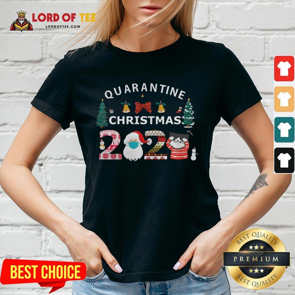 Perfect Quarantine Christmas Santa And Cute Cat 2020 V-neck