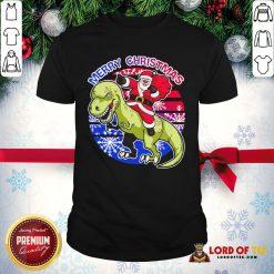 Perfect Santa Riding Dinosaur Merry Christmas Shirt