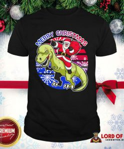 Perfect Santa Riding Dinosaur Merry Christmas Shirt