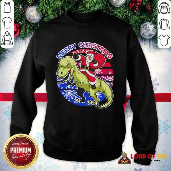 Perfect Santa Riding Dinosaur Merry Christmas SweatShirt