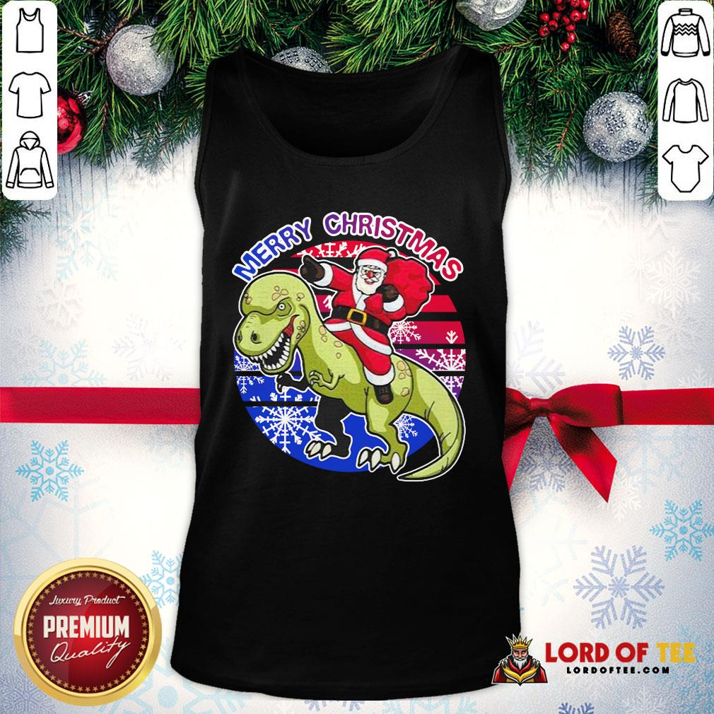 Perfect Santa Riding Dinosaur Merry Christmas Tank Top