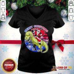 Perfect Santa Riding Dinosaur Merry Christmas V-neck