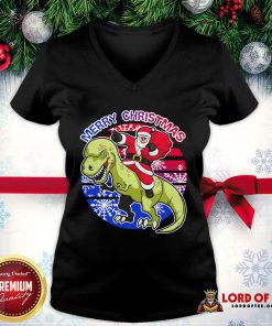 Perfect Santa Riding Dinosaur Merry Christmas V-neck