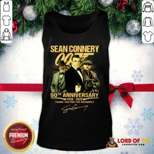 Perfect Sean Connery 007 90th Anniversary 1930-2020 Thank You For The Memories Signature Tank Top
