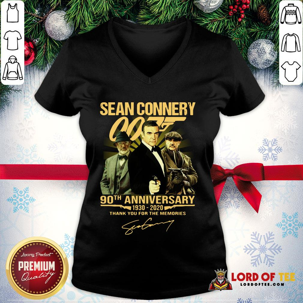 Perfect Sean Connery 007 90th Anniversary 1930-2020 Thank You For The Memories Signature V-neck