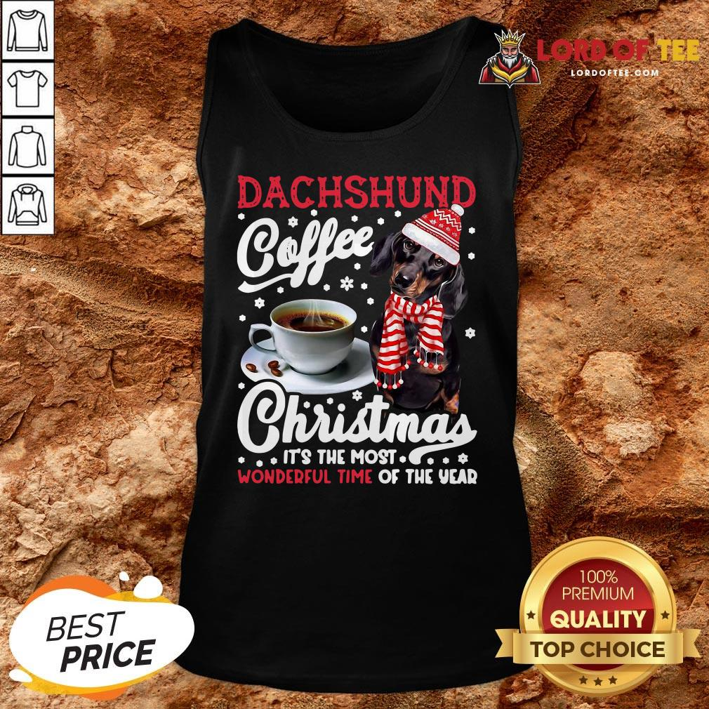 Premium Dachshund Coffee Christmas It's The Most Wonderful Time Of The Year Tank Top