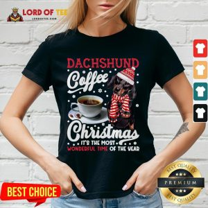 Premium Dachshund Coffee Christmas It's The Most Wonderful Time Of The Year V-neck