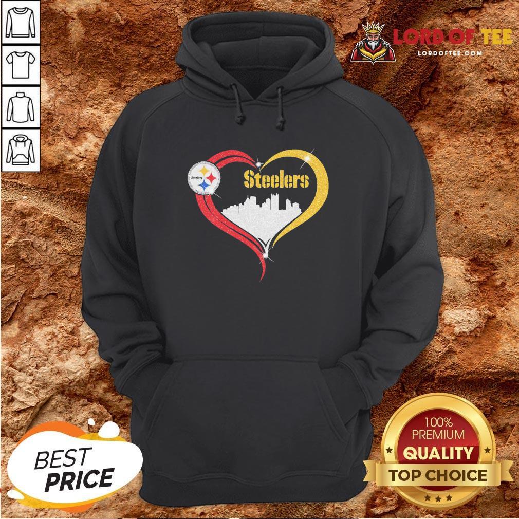 Premium Diamond Love Pittsburgh Steelers City Heart Hoodie