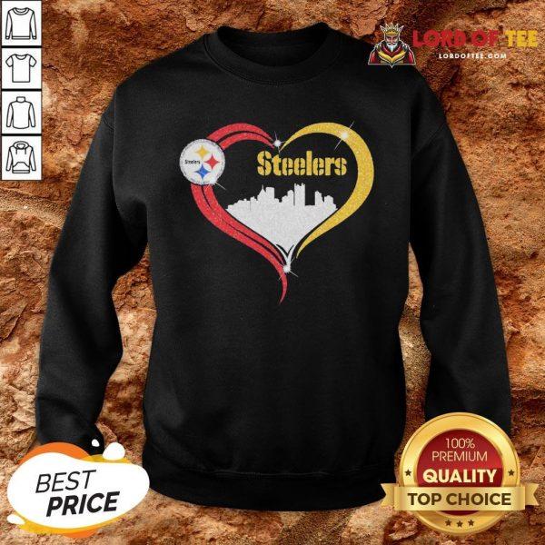 Premium Diamond Love Pittsburgh Steelers City Heart SweatShirt