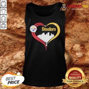 Premium Diamond Love Pittsburgh Steelers City Heart Tank Top