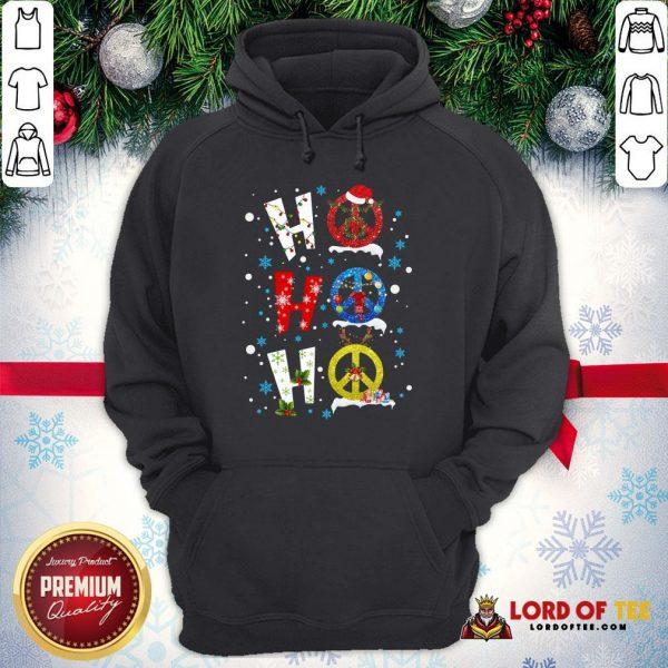Premium Ho Ho Ho Peace Symbols Merry Christmas Hoodie