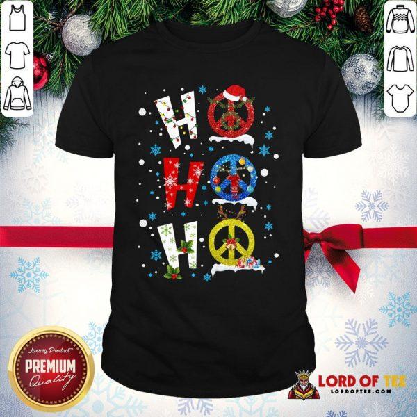 Premium Ho Ho Ho Peace Symbols Merry Christmas Shirt