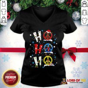 Premium Ho Ho Ho Peace Symbols Merry Christmas V-neck