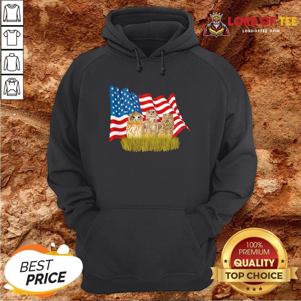 Premium Owls And American Flag Hoodie