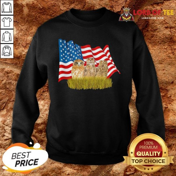 Premium Owls And American Flag SweatShirt