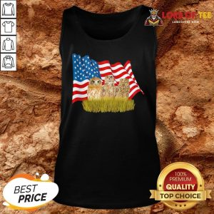 Premium Owls And American Flag Tank Top