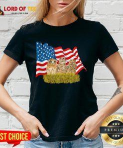 Premium Owls And American Flag V-neck