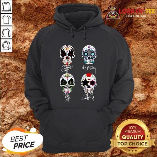 Premium Sugar Skull Kiss Band Signatures Hoodie