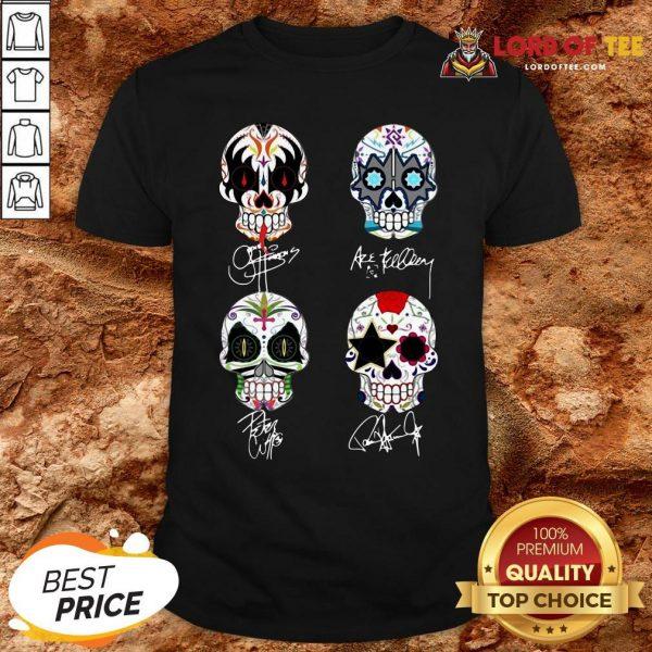 Premium Sugar Skull Kiss Band Signatures Shirt
