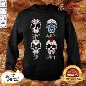 Premium Sugar Skull Kiss Band Signatures SweatShirt