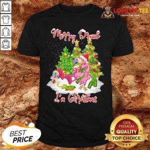 Pretty Flamingo Santa Drink Beer Merry Drunk I'm Christmas Shirt
