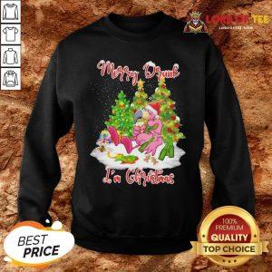 Pretty Flamingo Santa Drink Beer Merry Drunk I'm Christmas SweatShirt