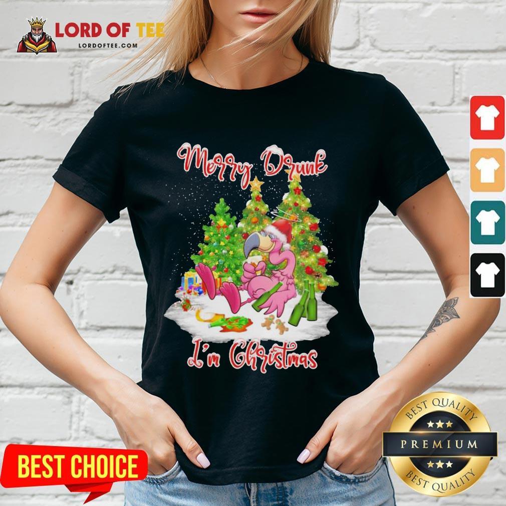 Pretty Flamingo Santa Drink Beer Merry Drunk I'm Christmas V-neck