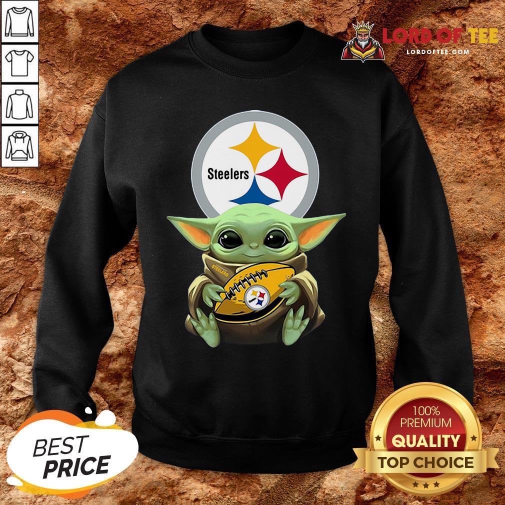 Pretty Star Wars Baby Yoda Hug Pittsburgh Steelers SweatShirt