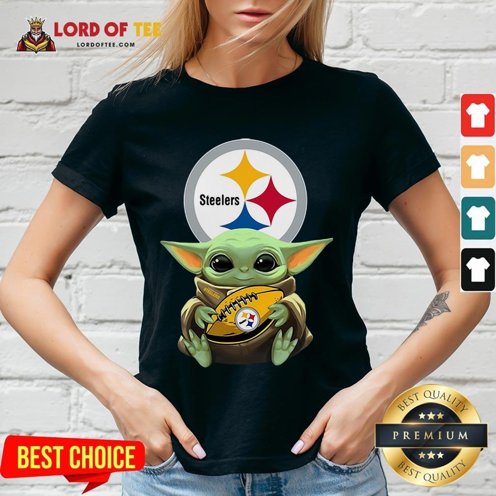 Pretty Star Wars Baby Yoda Hug Pittsburgh Steelers V-neck