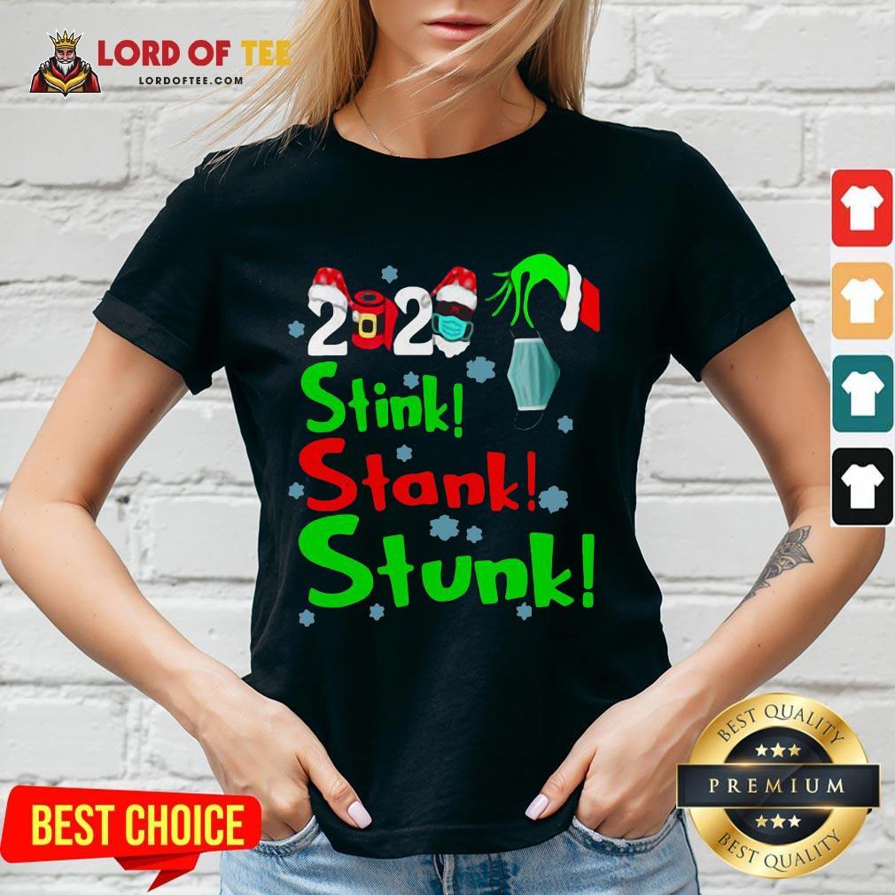Pretty Stink Stank Stunk Funny Grinch Holiday Christmas V-neck