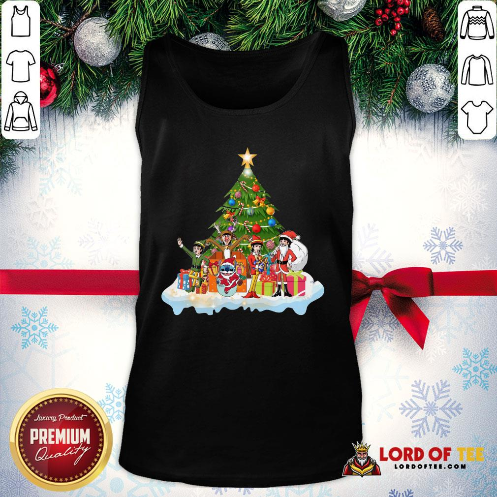 Pretty Stitch Santa Claus Elf Reindeer Christmas Tree Tank Top
