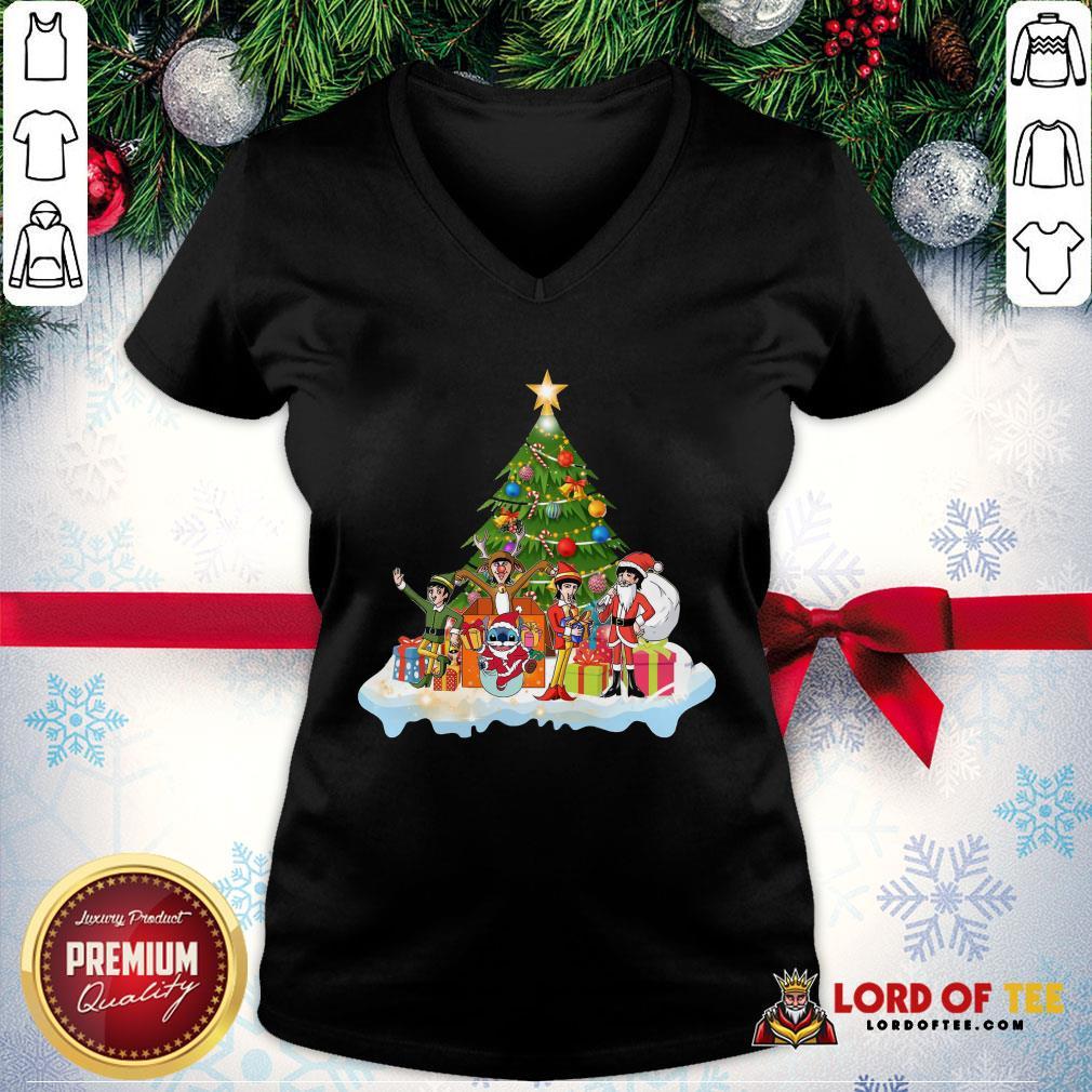 Pretty Stitch Santa Claus Elf Reindeer Christmas Tree V-neck