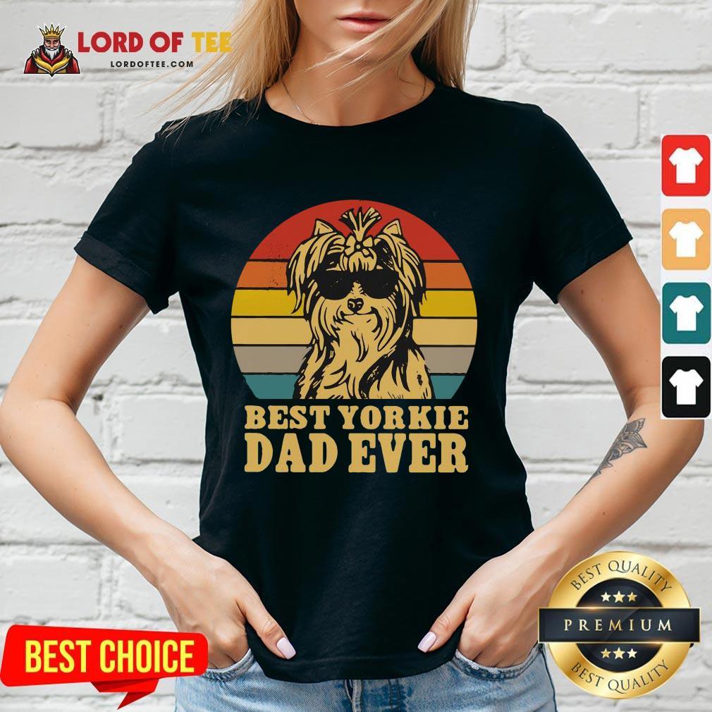 Top Best Yorkie Dad Ever Vintage V-neck