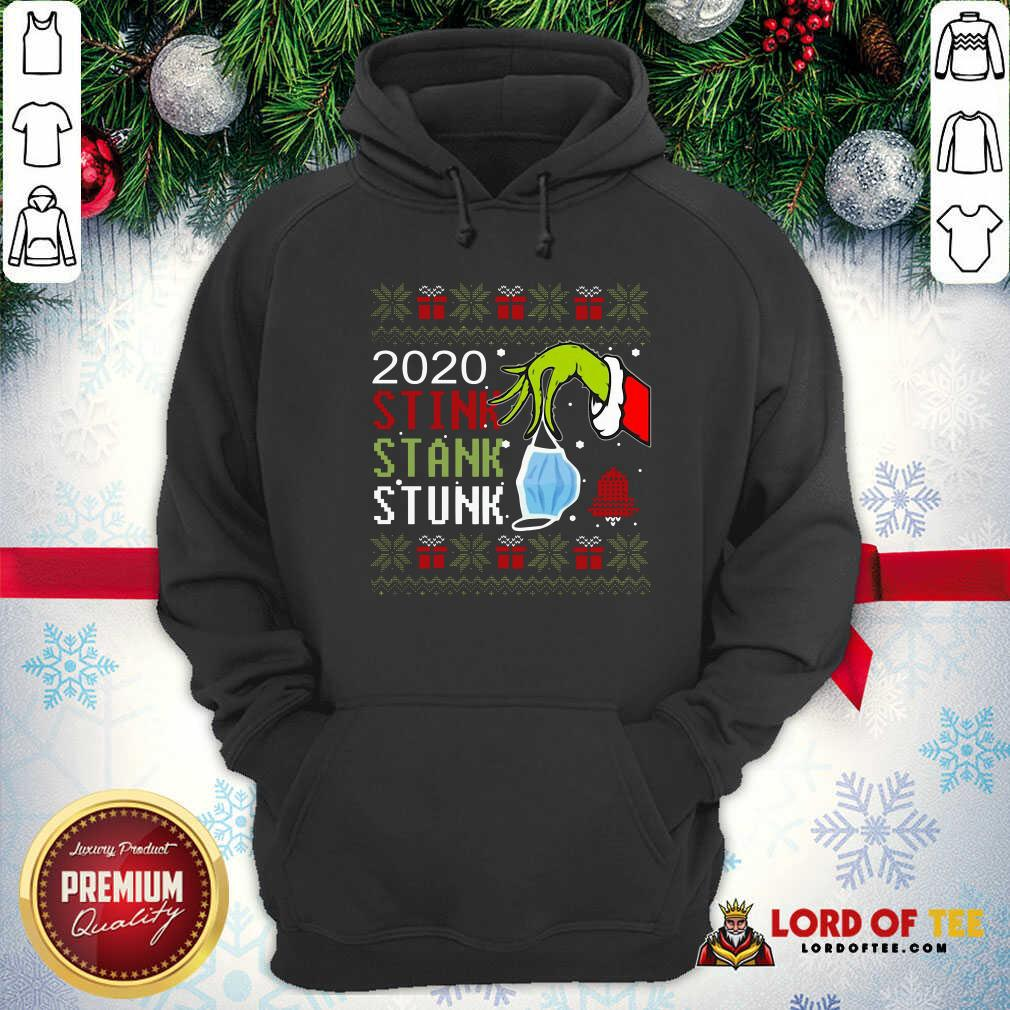 Top Hand Grinch Holding Mask 2020 Stink Stank Stunk Ugly Christmas Hoodie